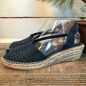 Andre Assous Navy Suede Espadrille Wedge Sandals